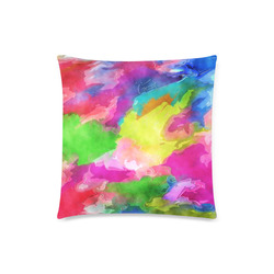 """Vibrant Watercolor Ink Blend Custom Zippered Pillow Case 18""""x18""""(Twin Sides)"""