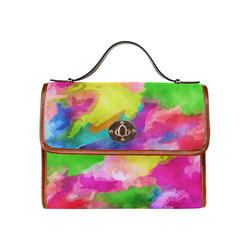 Vibrant Watercolor Ink Blend Waterproof Canvas Bag/All Over Print (Model 1641)