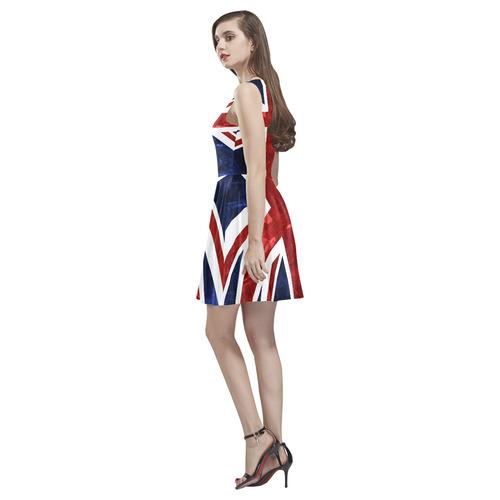 Grunge Union Jack Flag Thea Sleeveless Skater Dress(Model D19)