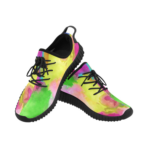 Vibrant Watercolor Ink Blend Grus Men's Breathable Woven Running Shoes (Model 022)