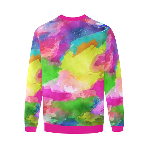Vibrant Watercolor Ink Blend Men's Oversized Fleece Crew Sweatshirt/Large Size(Model H18)