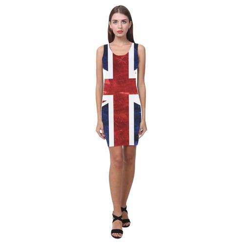 Grunge Union Jack Flag Medea Vest Dress (Model D06)