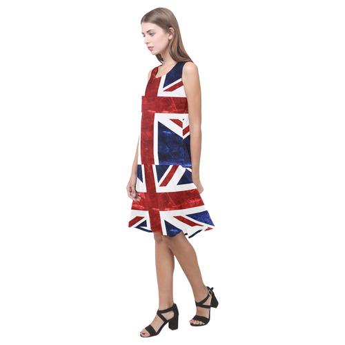 Grunge Union Jack Flag Sleeveless Splicing Shift Dress(Model D17)