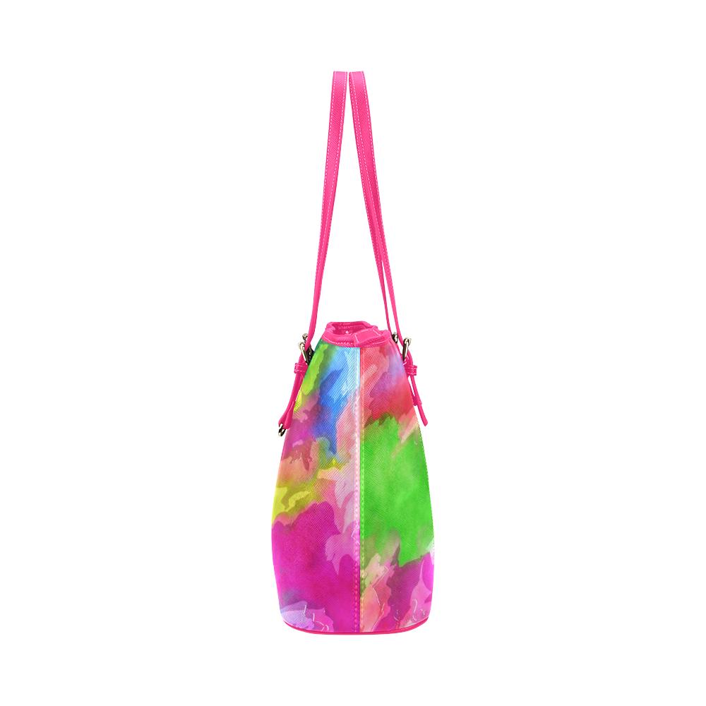 Vibrant Watercolor Ink Blend Leather Tote Bag/Large (Model 1651)