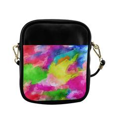 Vibrant Watercolor Ink Blend Sling Bag (Model 1627)