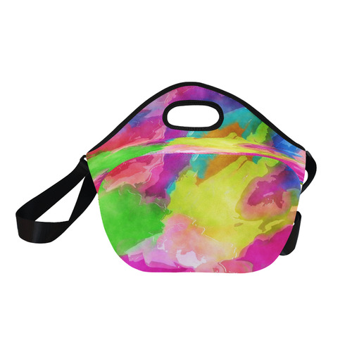 Vibrant Watercolor Ink Blend Neoprene Lunch Bag/Large (Model 1669)