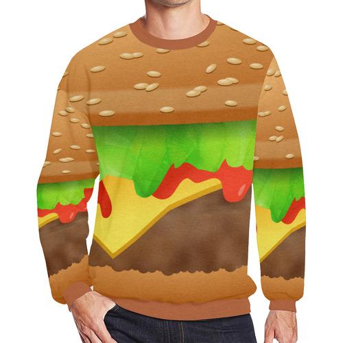 Close Encounters of the Cheeseburger Men's Oversized Fleece Crew Sweatshirt (Model H18)