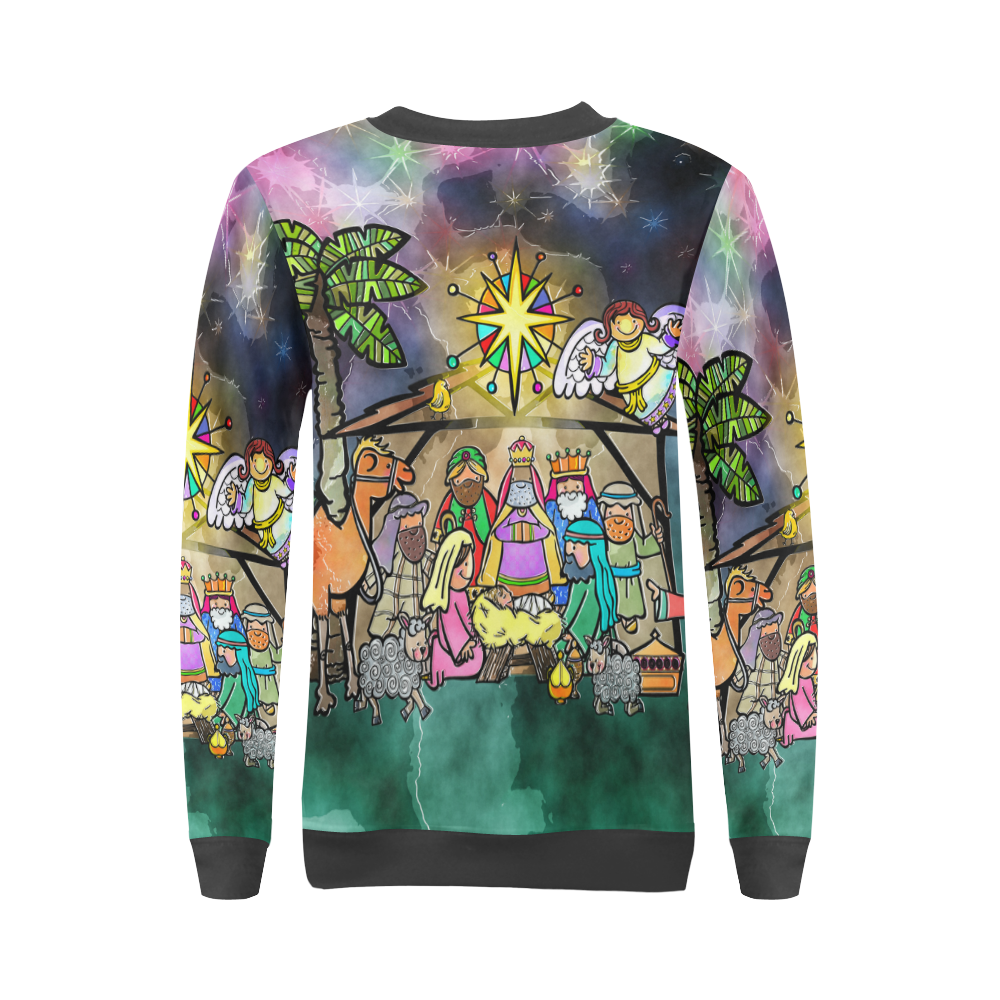 Watercolor Christmas Nativity Painting All Over Print Crewneck Sweatshirt for Women (Model H18)