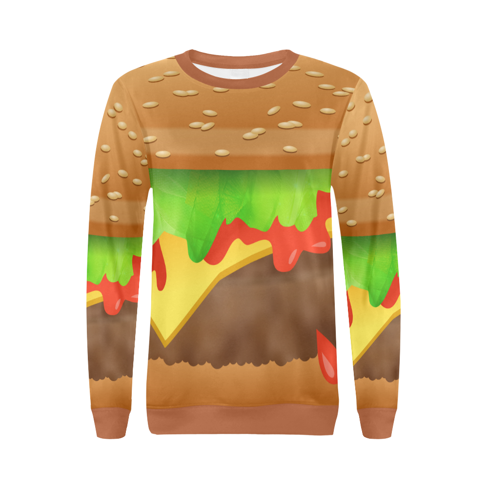 Close Encounters of the Cheeseburger All Over Print Crewneck Sweatshirt for Women (Model H18)