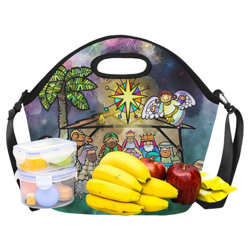 Watercolor Christmas Nativity Painting Neoprene Lunch Bag/Large (Model 1669)