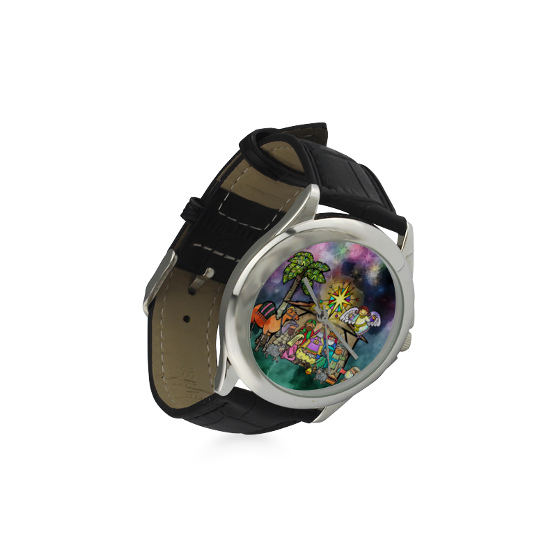 Watercolor Christmas Nativity Painting Women's Classic Leather Strap Watch(Model 203)