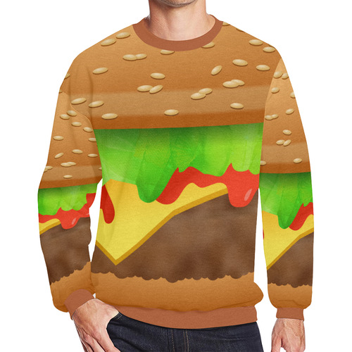 Close Encounters of the Cheeseburger Men's Oversized Fleece Crew Sweatshirt/Large Size(Model H18)
