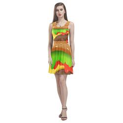 Close Encounters of the Cheeseburger Thea Sleeveless Skater Dress(Model D19)