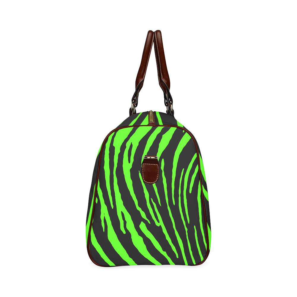Green Tiger Stripes Waterproof Travel Bag/Small (Model 1639)