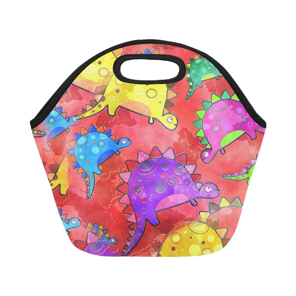 Watercolor Stegosaurus Dinosaur Print Neoprene Lunch Bag/Small (Model 1669)