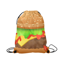 "Close Encounters of the Cheeseburger Large Drawstring Bag Model 1604 (Twin Sides)  16.5""(W) * 19.3""(H)"