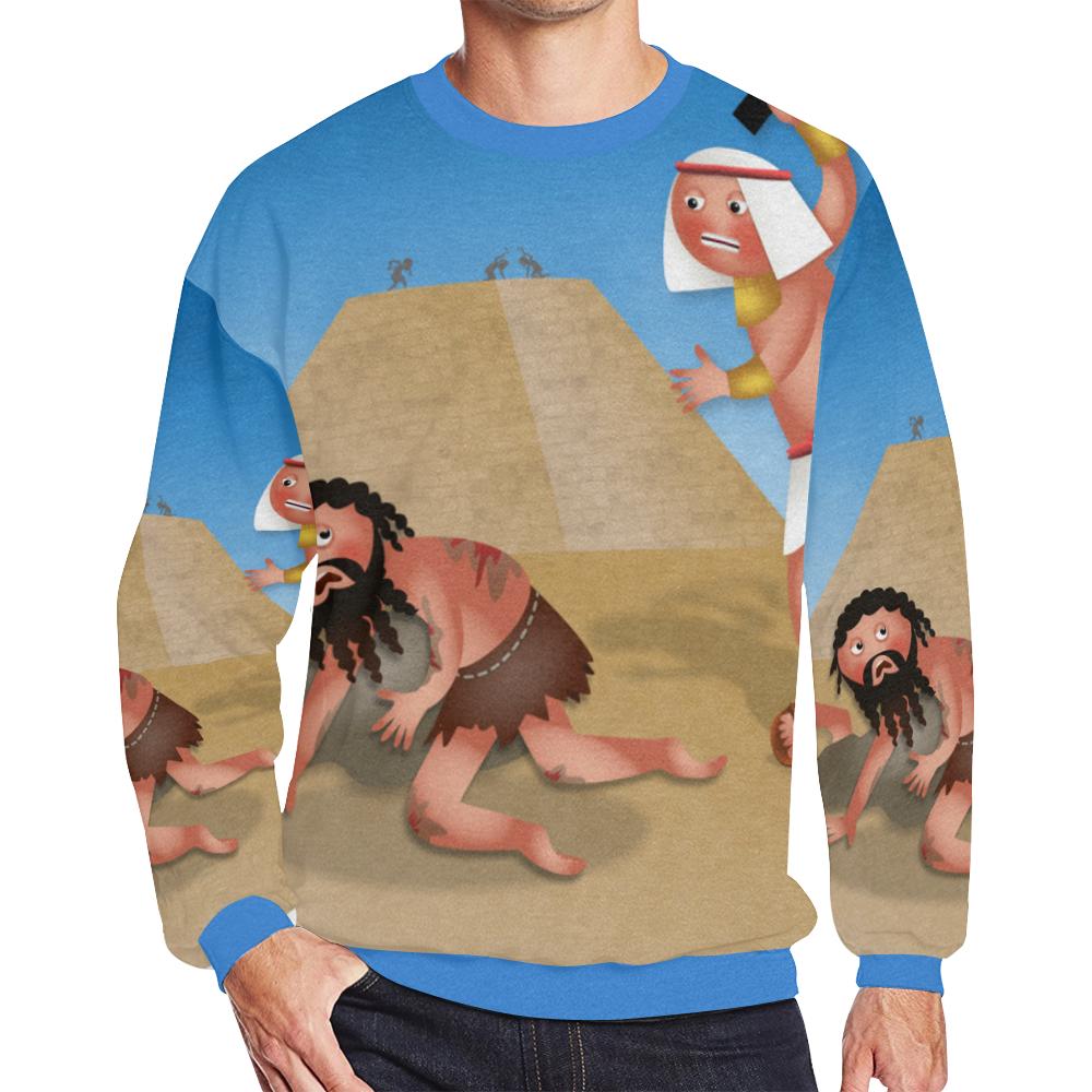 Jewish Slaves in Egypt Men's Oversized Fleece Crew Sweatshirt/Large Size(Model H18)