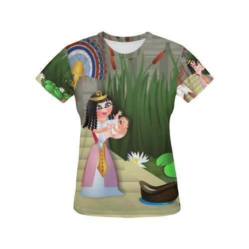 Baby Moses & the Egyptian Princess All Over Print T-Shirt for Women (USA Size) (Model T40)