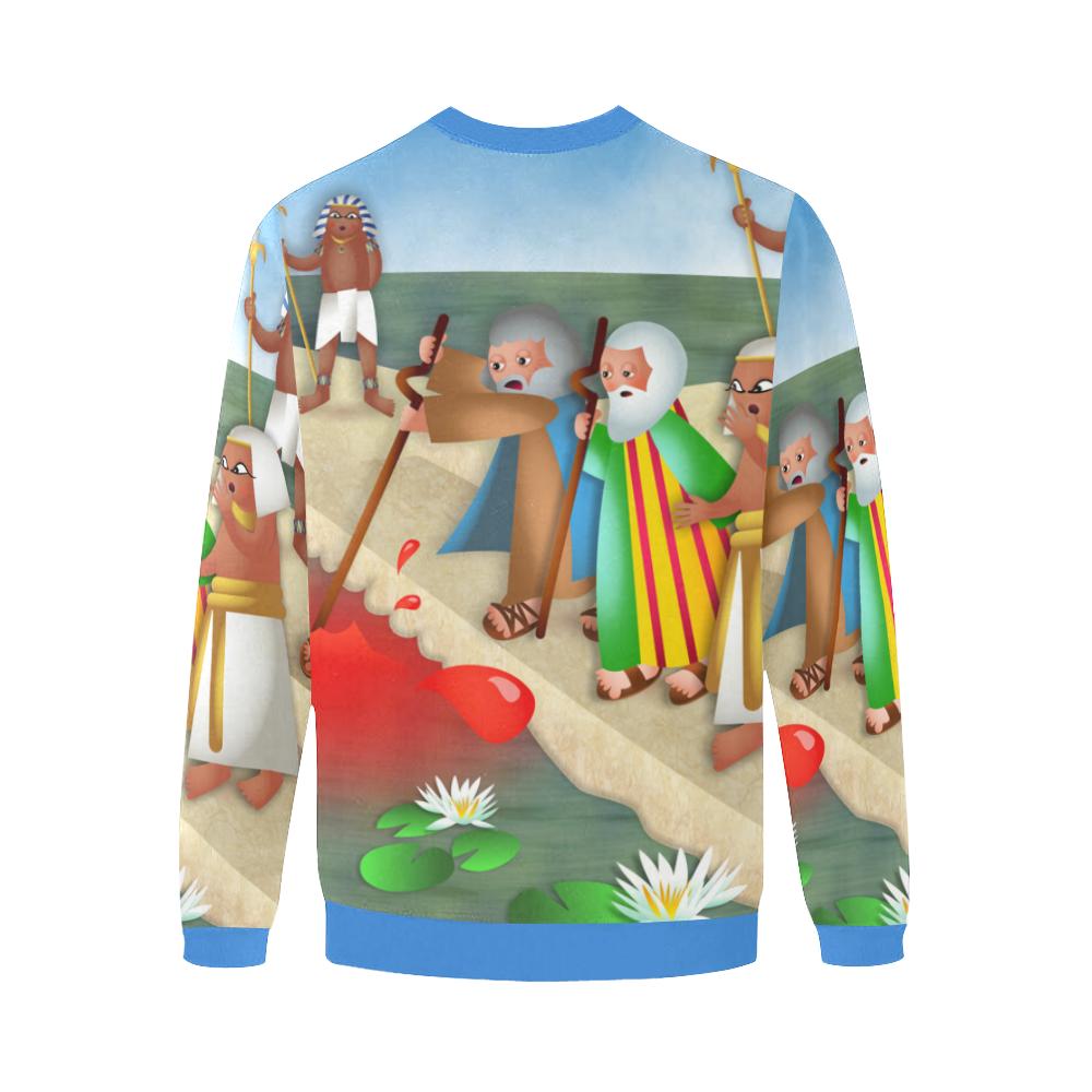 Passover & The Plague of Blood Men's Oversized Fleece Crew Sweatshirt/Large Size(Model H18)