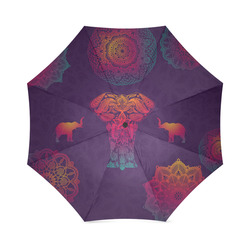 Colorful Elephant Mandala Foldable Umbrella (Model U01)