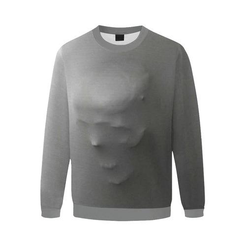 Break Through Creepy Skull Men's Oversized Fleece Crew Sweatshirt/Large Size(Model H18)