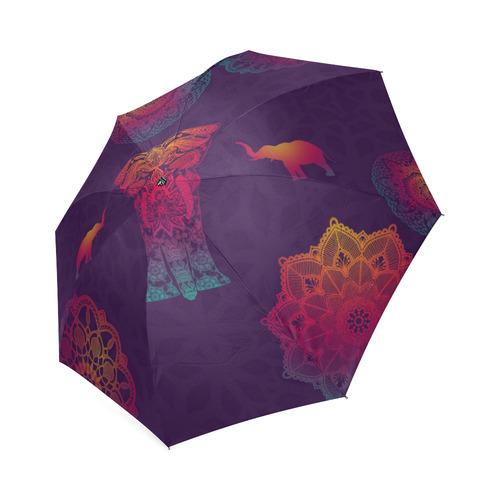 Colorful Elephant Mandala Foldable Umbrella (Model U01)