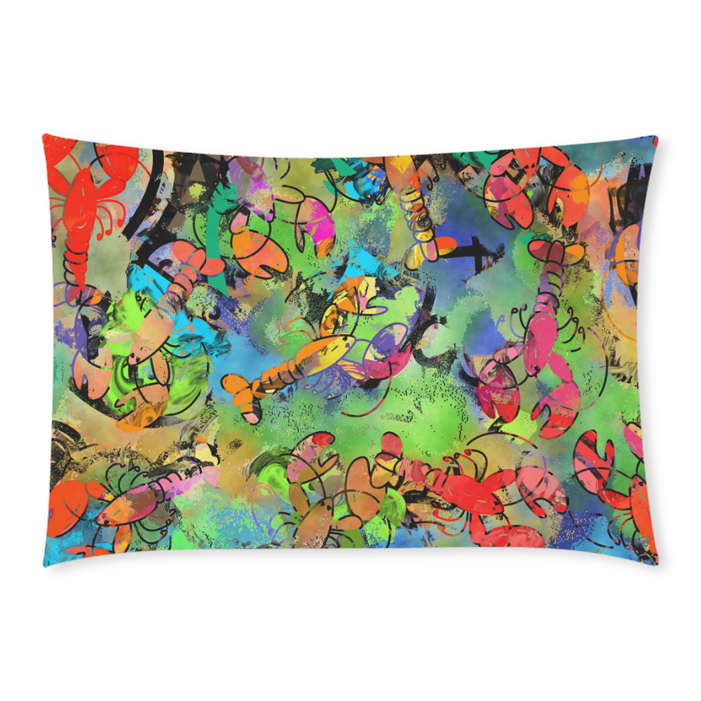 Grunge Collage Lobster Abstract Custom Rectangle Pillow Case 20x30 (One Side)