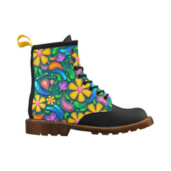 Retro Flowers High Grade PU Leather Martin Boots For Women Model 402H
