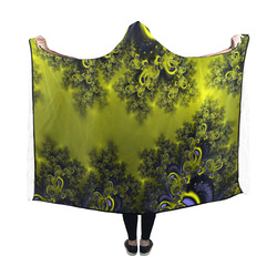 Frosty Sunlight on The Lake Fractal Abstract Hooded Blanket 60''x50''