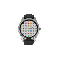 Retro Rainbow Polka Dots Men's Leather Strap Large Dial Watch(Model 213)