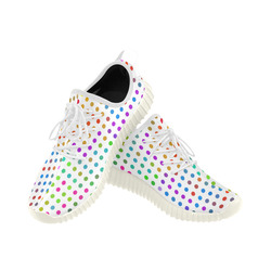 Retro Rainbow Polka Dots Grus Women's Breathable Woven Running Shoes (Model 022)