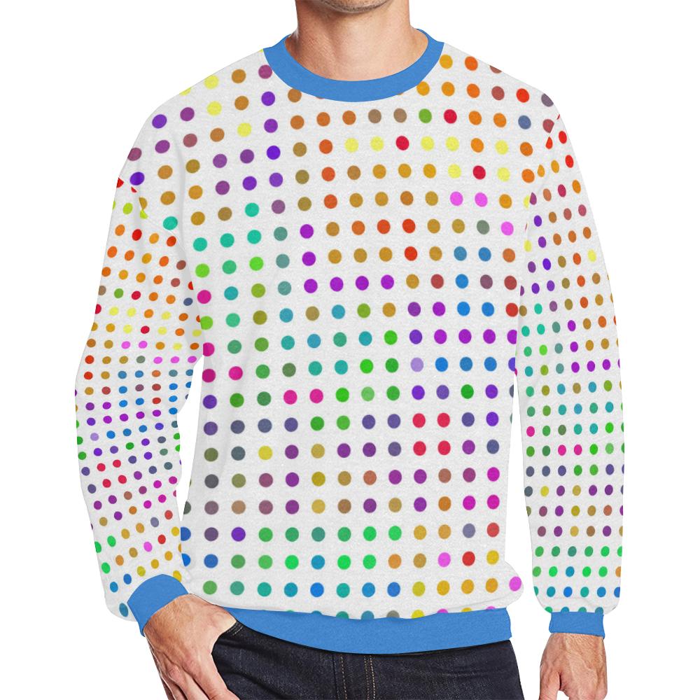 Retro Rainbow Polka Dots Men's Oversized Fleece Crew Sweatshirt (Model H18)