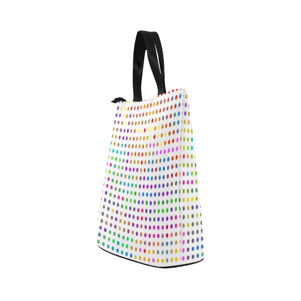 Retro Rainbow Polka Dots Nylon Lunch Tote Bag (Model 1670)