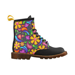 Colorful Retro Flowers High Grade PU Leather Martin Boots For Women Model 402H