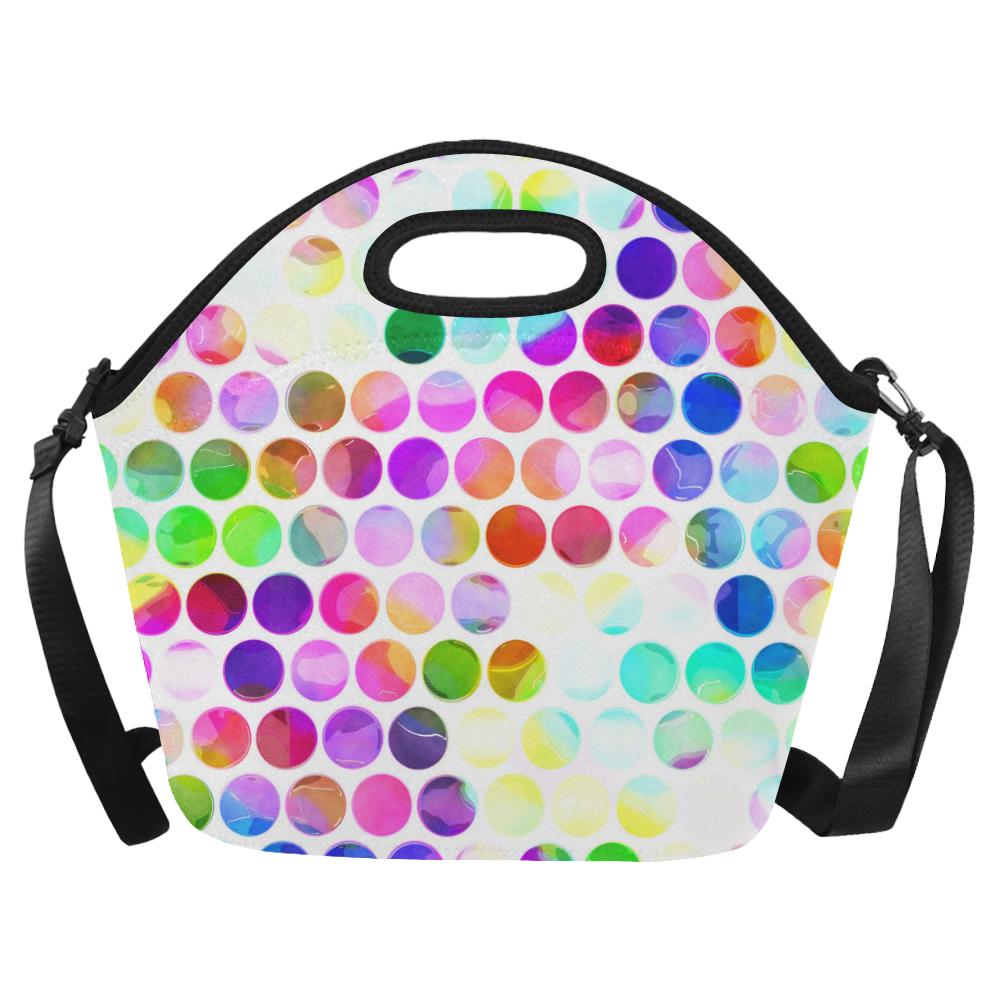 Watercolor Polka Dots Neoprene Lunch Bag/Large (Model 1669)