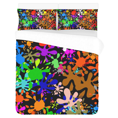 Paint Splats & Ink Blots 3-Piece Bedding Set