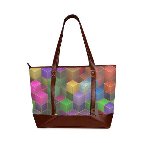 Geometric Rainbow Cubes Texture Tote Handbag (Model 1642)