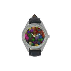 Geometric Rainbow Cubes Texture Men's Leather Strap Analog Watch(Model 209)