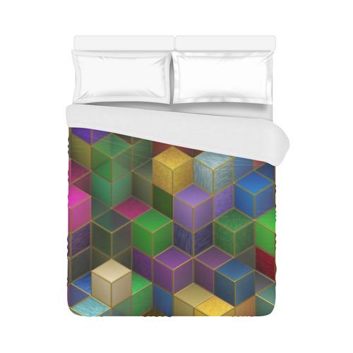 "Geometric Rainbow Cubes Texture Duvet Cover 86""x70"" ( All-over-print)"