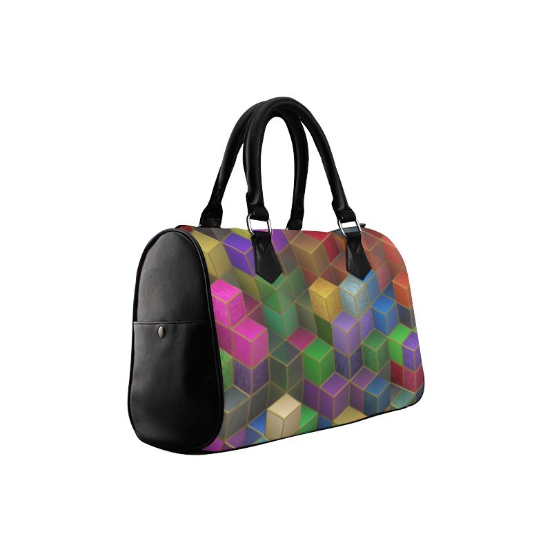 Geometric Rainbow Cubes Texture Boston Handbag (Model 1621)