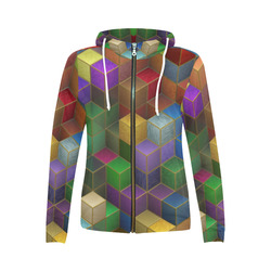 Geometric Rainbow Cubes Texture All Over Print Full Zip Hoodie for Women (Model H14)