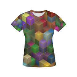 Geometric Rainbow Cubes Texture All Over Print T-Shirt for Women (USA Size) (Model T40)