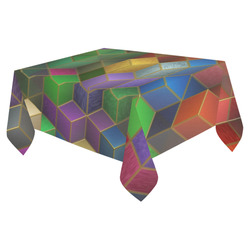"Geometric Rainbow Cubes Texture Cotton Linen Tablecloth 52""x 70"""