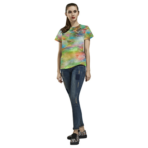 Watercolor Paint Wash All Over Print T-Shirt for Women (USA Size) (Model T40)