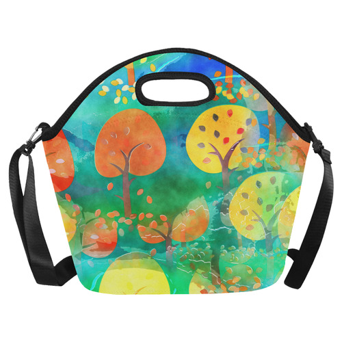 Watercolor Fall Forest Neoprene Lunch Bag/Large (Model 1669)