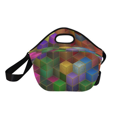 Geometric Rainbow Cubes Texture Neoprene Lunch Bag/Large (Model 1669)