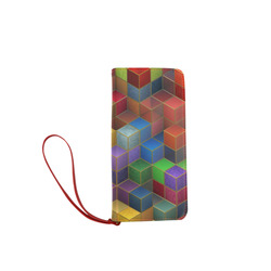 Geometric Rainbow Cubes Texture Women's Clutch Wallet (Model 1637)