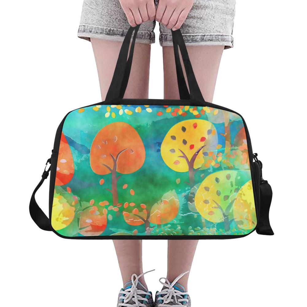 Watercolor Fall Forest Fitness Handbag (Model 1671)