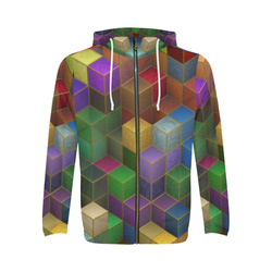 Geometric Rainbow Cubes Texture All Over Print Full Zip Hoodie for Men (Model H14)