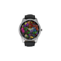 Geometric Rainbow Cubes Texture Men's Leather Strap Large Dial Watch(Model 213)